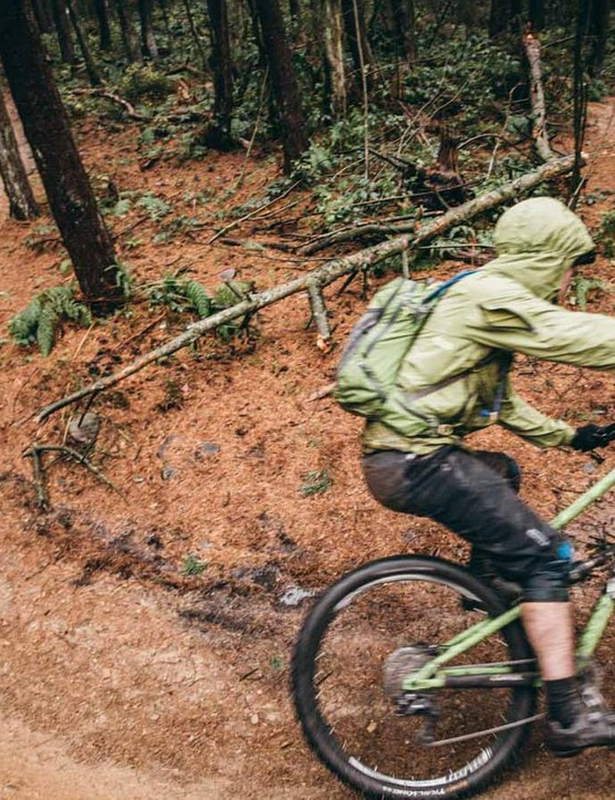 Colour coordination was strong as we whipped round the berms of Lady Cannings woods on our test ride