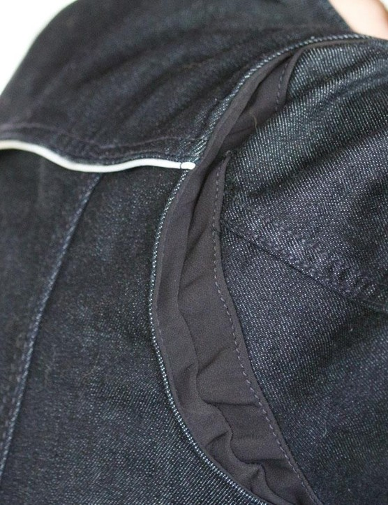 The shoulders of the women's Commuter Trucker Jacket are gusseted so the back of the jacket doesn't pull, tug or constrict your movement