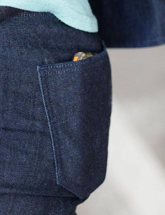 The rear pockets of the women's Commuter Skinny Jeans are deep enough to carry a phone (iPhone 5 pictured) on the bike without any worries about losing it