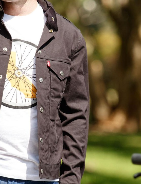 The Dropped Hem Tee and men's Commuter Trucker Jacket pair well together