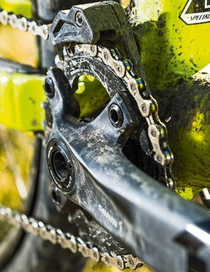 SRAM X1 running gear is protected from chain drops