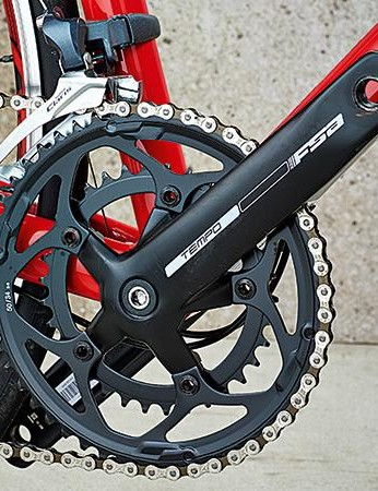 The compact crankset pairs well with the 12/28 cassette