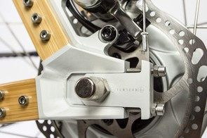 Neatly machined alloy dropouts make for easy tension adjustment of the belt drive transmission