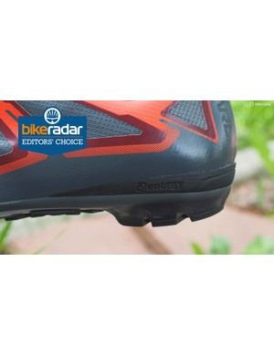 A bit of foam padding in the heel provides some cush when on foot without affecting pedaling at all