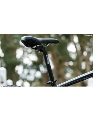 Cell puts its brand on commonly used generic components, such as this saddle and seatpost