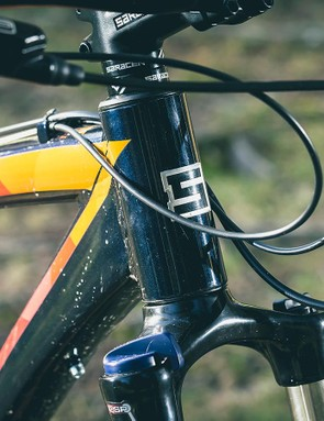 The frame is hydroformed alloy, with a 69-degree head angle