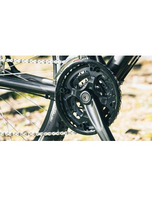 The pressed-steel chainrings are cheap –in every sense–bits of kit