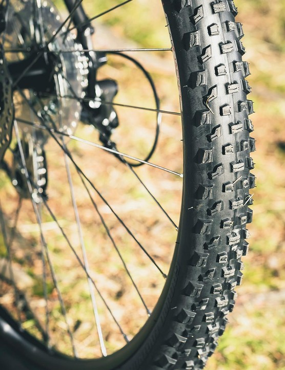 The own-brand tyres look reasonably knobbly but we found grip so-so