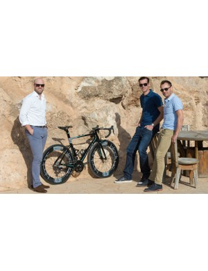 ONE Pro Cycling's Matt Prior (left), David Millar and Baden Cooke