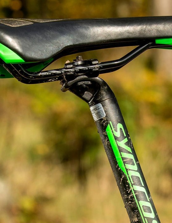 The skinny 27.2mm seatpost makes dropper upgrading awkward but gets a quick-release lever for easy adjustment