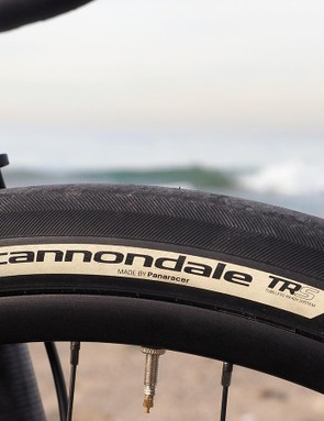 Cannondale partnered with Panaracer to produce the Slate's custom 42mm-wide 650b tires, which are surprisingly light at just 300g (claimed) and offer wickedly good grip on pavement. Rolling resistance seems more dependent on inflation pressure than on 700c tires of more conventional width, however, and the barely-there tread greatly limits their usability on mixed terrain. The paper-thin casing proved quite susceptible to sidewall cuts, too