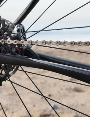 The rear end of the Slate features what are possibly the most heavily manipulated stays of any aluminum road bike. While it's impossible to tell how much influence came from the tire and how much was from the frame, the Slate certainly rides very comfortably