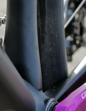 The seat tube is flared at the bottom bracket to help stiffen up the bottom half of the frame