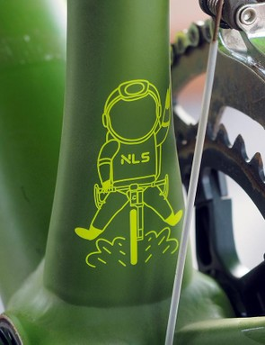 There's a fun little Easter egg on the back of the seat tube that's sort of an inside joke relating to the bike's code name during development. 'NLS' stands for 'Next Level Shit'