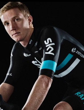 Ian Boswell shows off the new Team Sky racing kit