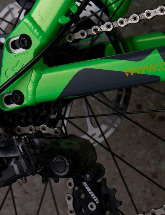 SRAM's X0 DH 1x7 rear cassette provides ample gearing for this kind of riding
