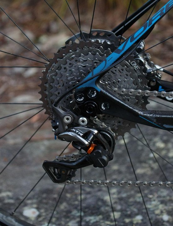 We've been testing XTR with the new OneUp 45t upgrade cog. Shifting isn't quite as good, but it sure adds plenty of range in 1x11 setup