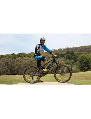 Fabien Barel and his 2015 Canyon Strive CF Team Race 'training' bike