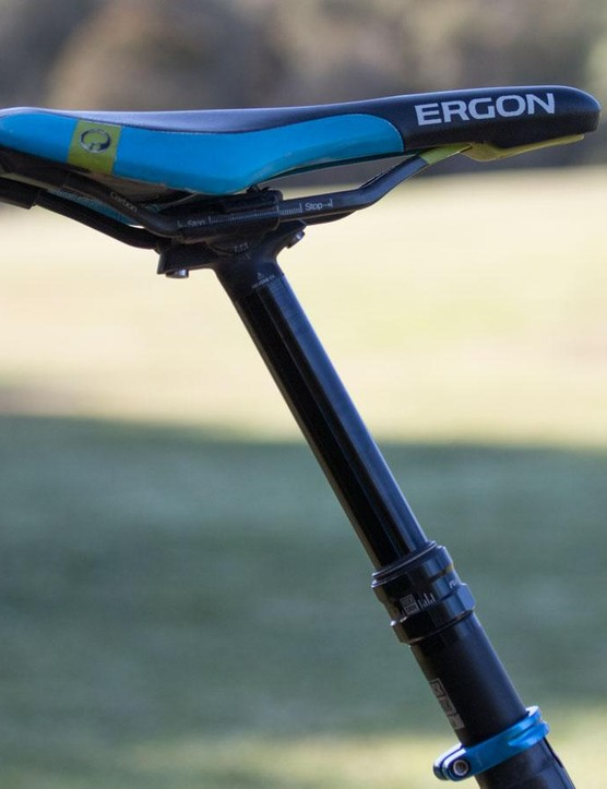 A 125mm dropper post for Barel's Canyon Strive. Note the Ergon saddle that's slammed all the way forward on its rails