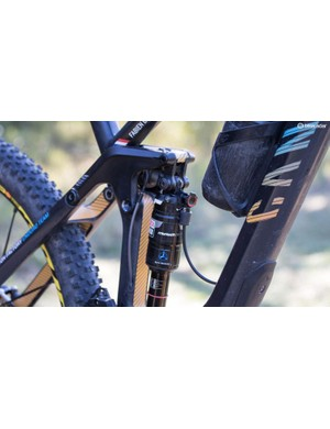 The RockShox XX shock is more commonly used in XC racing, but Barel really likes the full lockout given as it lets him use huge amounts of sag (35 percent) in his suspension setup