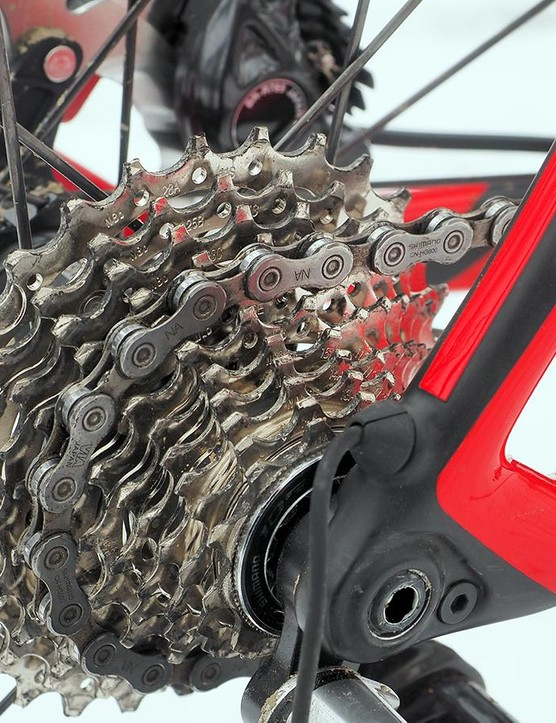 The 11-28t cassette doesn't offer enough gearing range for courses with even a modest amount of climbing