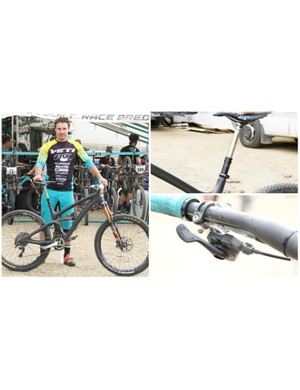 Yeti worked closely with Graves to design the SB6c. One of our favorite component hacks is Graves use of an XTR shifter to operate his dropper seatpost