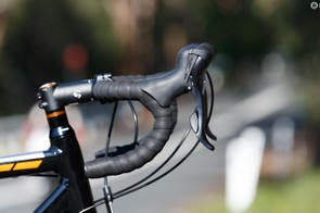 Bontrager is Trek's own component brand. These are high-quality items, although we found the handlebar shape a little too tight when in the drops