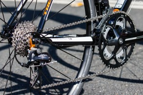 The Trek 1.2's drivetrain is extremely similar to the Cannondale CAAD8 Sora 7 we tested alongside it. An 11-28t cassette is matched to a compact crank