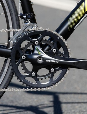Out of six budget road bikes tested, the Merida's front shifting is the worst. It's surprising given the Shimano crank, but then it's a cheap one