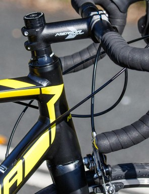 Look at the length! The Merida Ride's head tube is massively long and makes for an extremely upright position