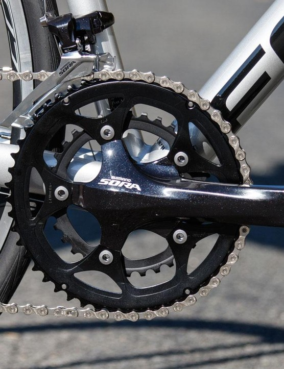 The Shimano Sora crank completes the Sora transmission, which offers the best front shifting at this lowly price point