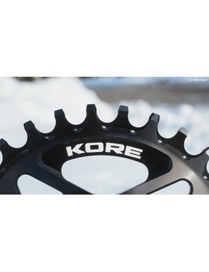 KORE's chainring tooth profiles are unusually tall with a slightly hooked shape that supposedly provides even better security than most narrow/wide rings