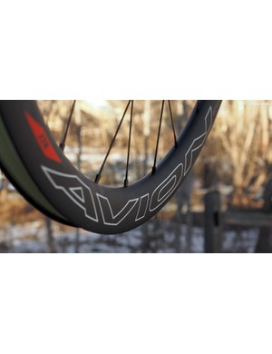 NoTubes says the 41mm-deep Avion carbon rim is not only aerodynamic but also more comfortable than other rims of similar depth. External nipples make for easy servicing when needed