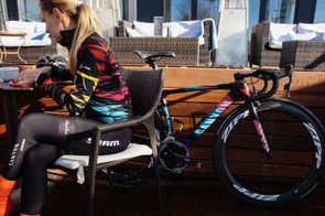The kit matches the livery on the team bikes, Canyon Ultimate WMN CF SLX