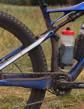 Just 90mm of travel is on tap from the classic four-bar rear end but it's well controlled and very usable