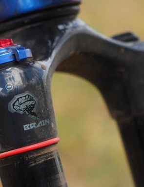 Inside the custom RockShox SID fork is Specialized's terrain-sensing 'Brain' inertia damper, which stays locked out until it detects a bump