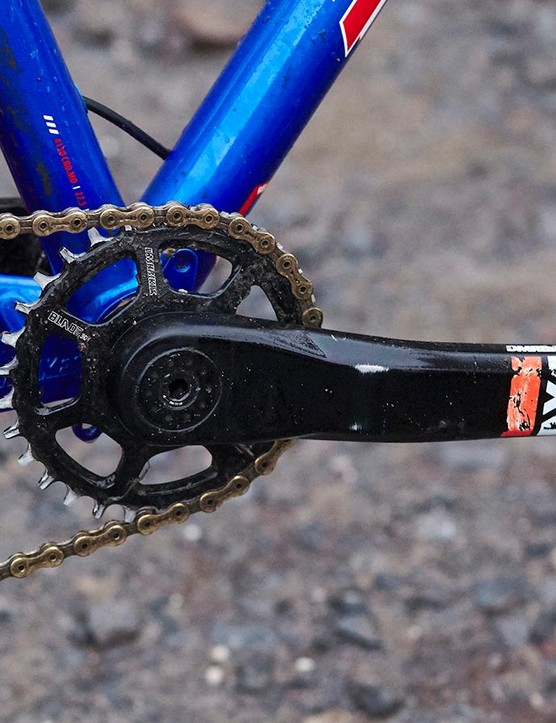 DMR's Axe single-ring cranks and a wide-range Praxis cassette took their place in the drivetrain