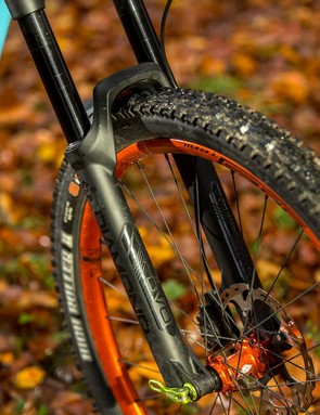 The DVO Diamond fork keeps the front end sucked to the ground for maximum traction