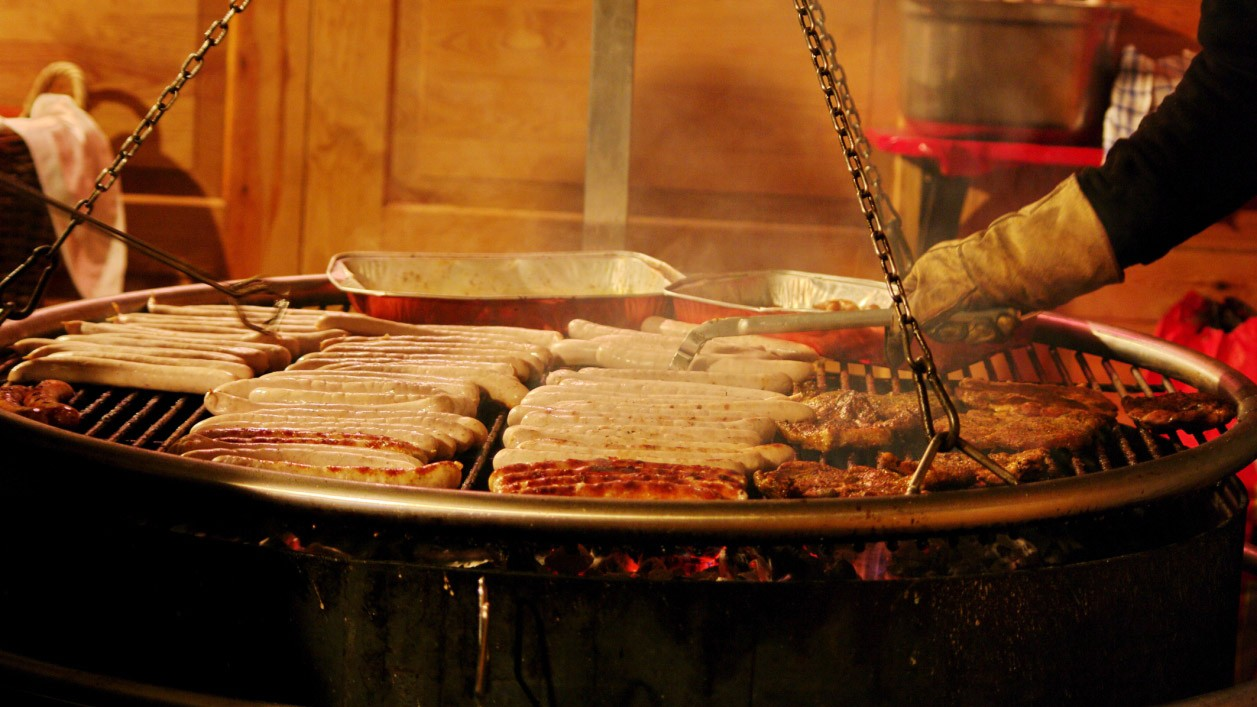 The tempting aroma of German sausage at a Christmas market can be hard to resist