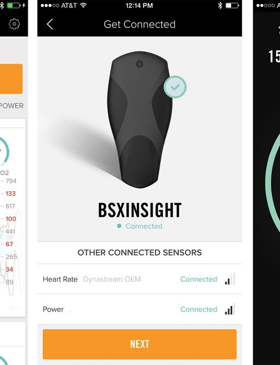 The BSX Insight app pairs with the calf-positioned device plus a power meter and a heart rate monitor