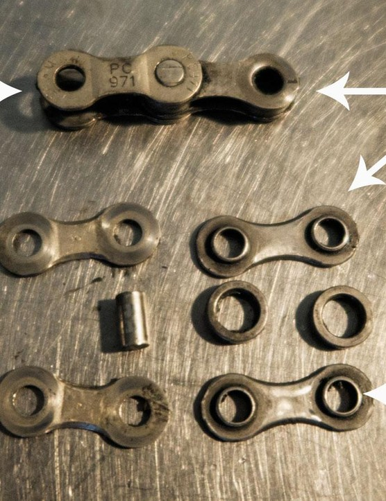 The pieces of a modern bicycle chain