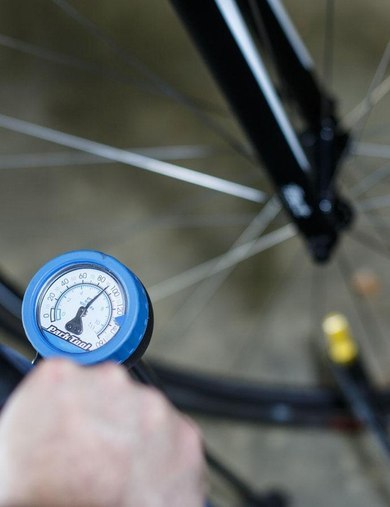 We check our tyre pressures before every ride