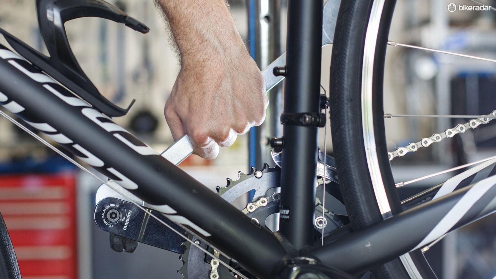 Never undo pedals toward the chainring