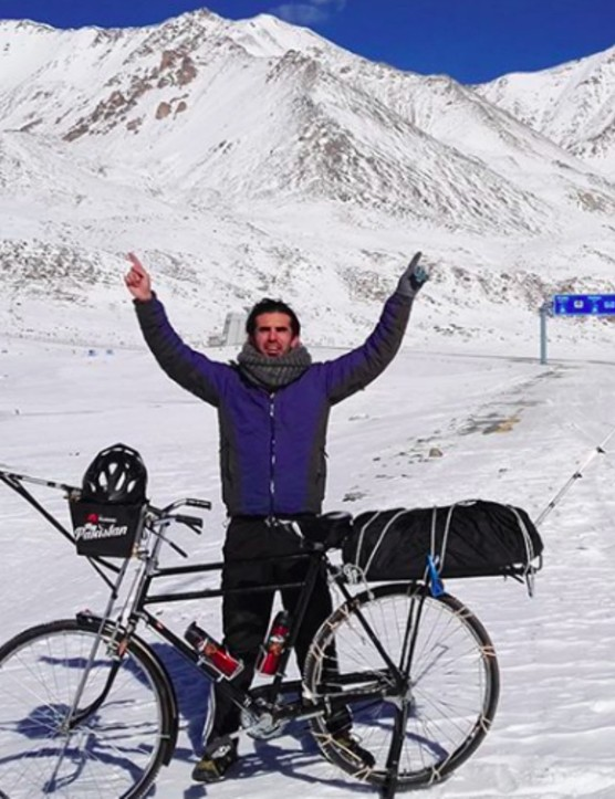 Moin Khan, embarking on a 100-day bike ride from one end of Pakistan to the other