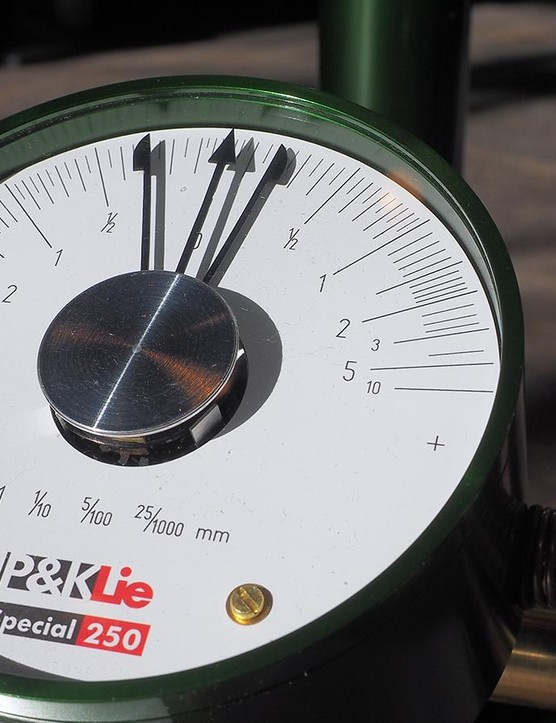 The P&K Lie Special250 dial gauges are non-linear, displaying higher resolution as the wheel gets closer to perfectly true and round