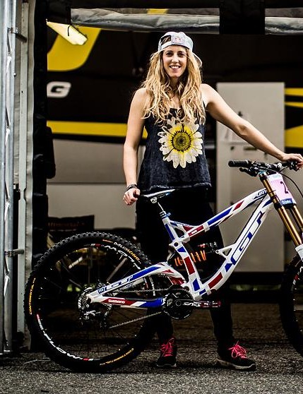 Rachel Atherton proudly displays her custom-painted GT Fury World Cup, her bike for the 2015 World Championships at Vallnord, Andorra