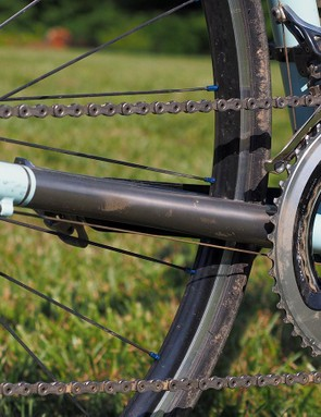 Guldalian's personal Engin Cycles road bike features enormous 1in-diameter chainstays – comparable to what's used on many carbon frames these days