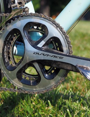 This bike was used at the Baller's Ride this past summer – a small annual gathering of custom builders and friends in the mountains of Virginia. The compact chainrings were most welcome