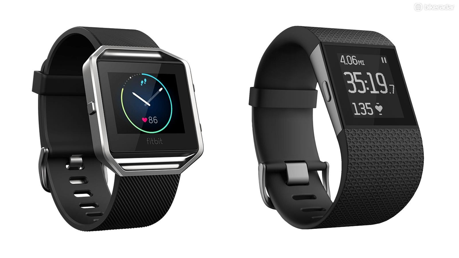 Just launched, the Fitbit Blaze (left) lined up next to the Fitbit Surge (right)