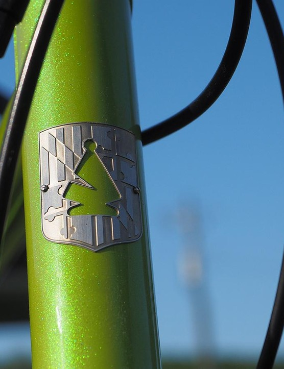 The head tube logo is a play on Bishop's last name